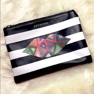 🆓w/$Purchase/Sephora Black,White.Red Lip Pouch👝